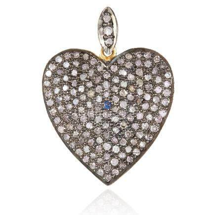 A DIAMOND HEART PENDANT in yellow gold, jewelled with