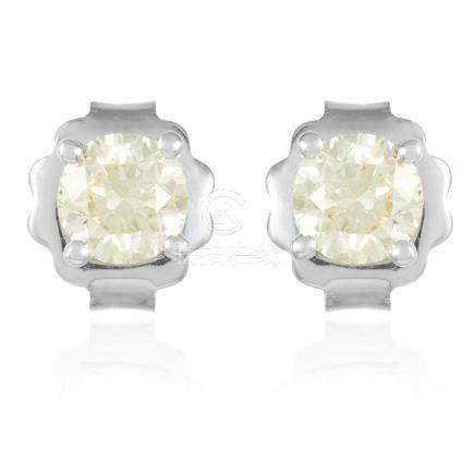 A PAIR OF 1.03 CARAT DIAMOND EAR STUDS in 18ct white