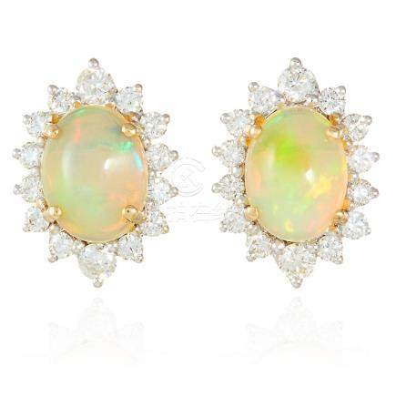 A PAIR OF OPAL AND DIAMOND EAR STUDS in 18ct yellow