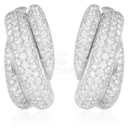 A PAIR OF DIAMOND HOOP EARRINGS, F.ODERS in 18ct white
