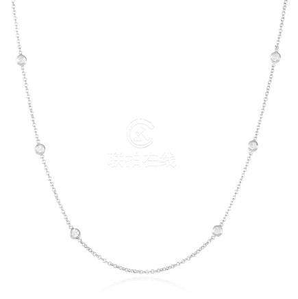 A 0.85 CARAT DIAMOND CHAIN NECKLACE in 18ct white gold,