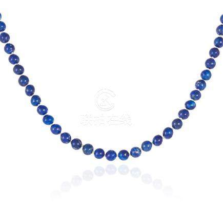A LAPIS LAZULI BEAD NECKLACE comprising of sixty-six