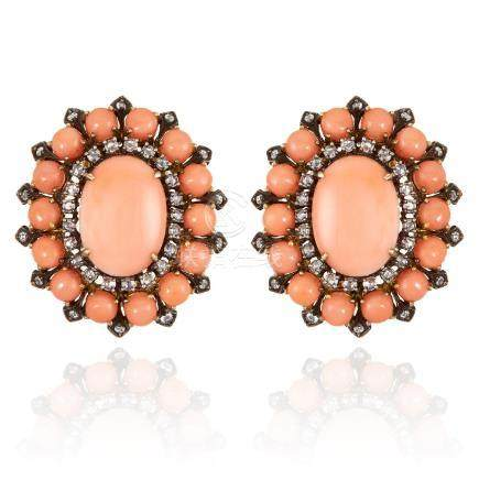 A PAIR OF CORAL AND DIAMOND EARRINGS in 18ct yellow