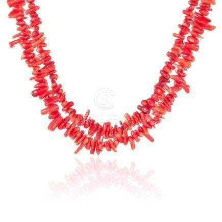 A CORAL BEAD NECKLACE comprising of two rows of coral