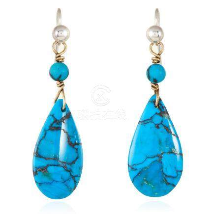 A PAIR OF ANTIQUE TURQUOISE DROP EARRINGS in yellow