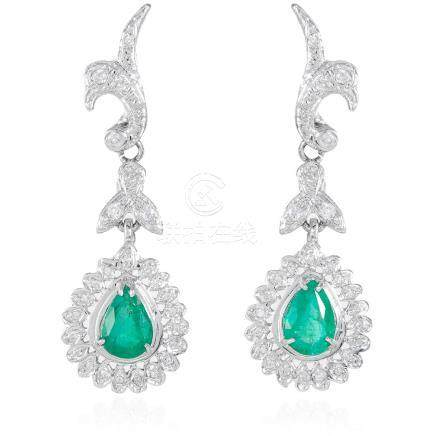 A PAIR OF EMERALD AND DIAMOND DROP EARRINGS, in 18ct