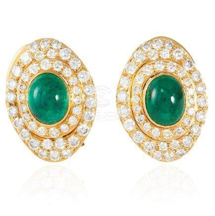 A PAIR OF EMERALD AND DIAMOND EARRINGS, in 18ct yellow