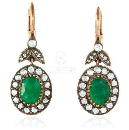A PAIR OF EMERALD AND DIAMOND EARRINGS in 18ct yellow
