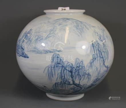 A hand painted Korean porcelain bowl, H. 28cm.