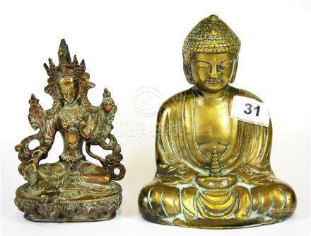 A Chinese brass figure of the seated Buddha with a Tibetan copper bronze Tara, Buddha H. 16cm.