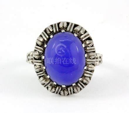 A 925 silver lavender jade set ring, (N.5).