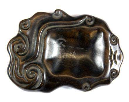 A small Chinese carved hardwood brush washing bowl, W. 11cm.