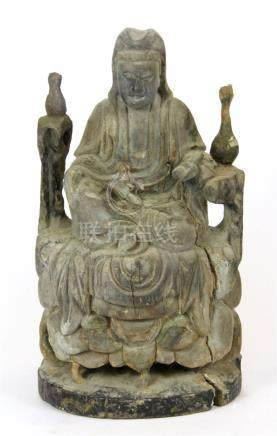 A Chinese Qing dynasty carved woode figure of Guanyin, H. 26cm. Prov. Private Collection.