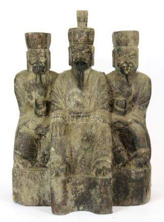 A Chinese 19th Century Qing dynasty carved wooden triple figure, H. 28cm. Prov. Private Collection.