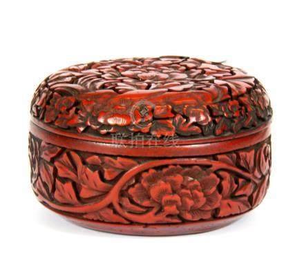 A Chinese carved cinnabar lacquer box, Dia. 11cm D. 6.5cm.