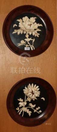 A pair of Japanese Shibayama circular plaques