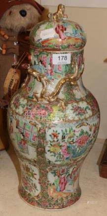 A 19th century Chinese canton famille rose baluster vase and cover