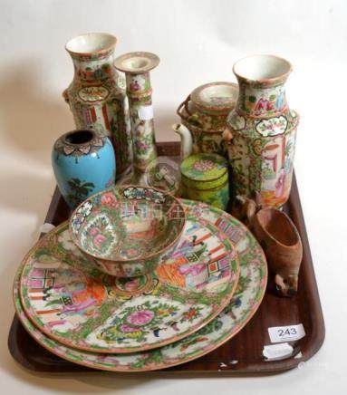 A tray of mostly 20th Century Canton famille rose porcelain, Chinese soapstone carving and two
