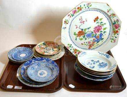 A group of 19th Century and later Chinese and Chinese export plates and chargers on two trays