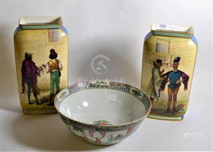 A Chinese export bowl; and a pair of Continental figural decorated vases with both underside bases