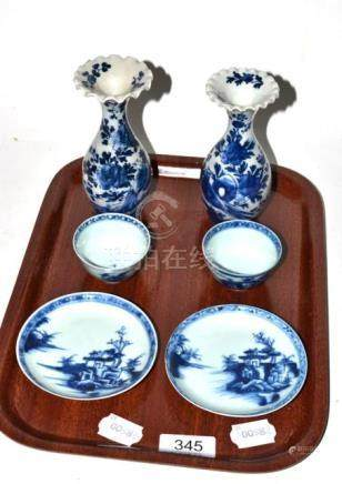 Four pieces of Nanking Cargo, two tea bowls and two saucers, a pair of Japanese Meji period blue and