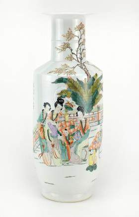 Chinese porcelain Rouleau vase, finely hand painted in the famille rose palette with figures,