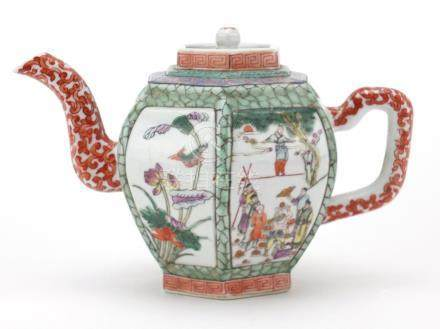 Chinese porcelain hexagonal teapot, hand painted in the famille rose palette with panels of figures,