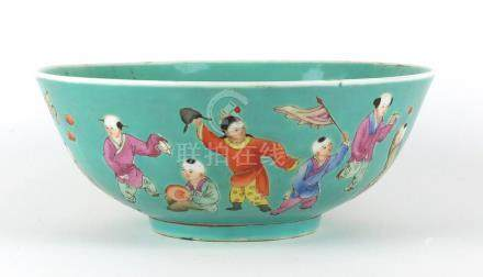 Chinese turquoise ground bowl, finely hand painted in the famille rose palette with a continuous