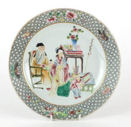 Chinese porcelain plate, hand painted in the famille rose palette with figures, insects and flowers,