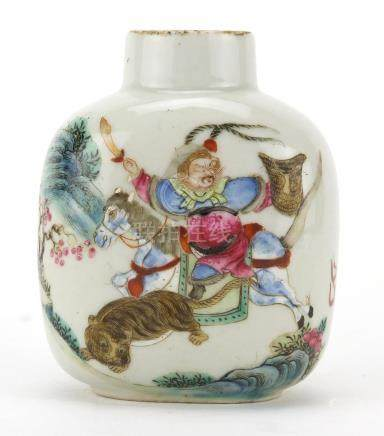 Chinese porcelain snuff bottle, finely hand painted in the famille rose palette with an Emperor