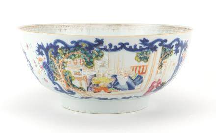 Chinese porcelain footed bowl, hand painted in the famille rose palette with figures and flowers,