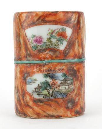 Chinese porcelain vase of naturalistic form, hand in the famille rose palette with panels of flowers