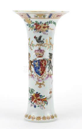 Chinese porcelain trumpet vase, hand painted in the famille rose palette with an armorial crest
