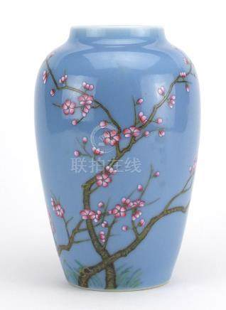 Chinese porcelain vase, hand painted in the famille rose palette with branches of blossoming