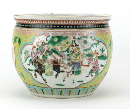 Chinese porcelain fish bowl hand painted with panels of warriors within a foliate border onto a