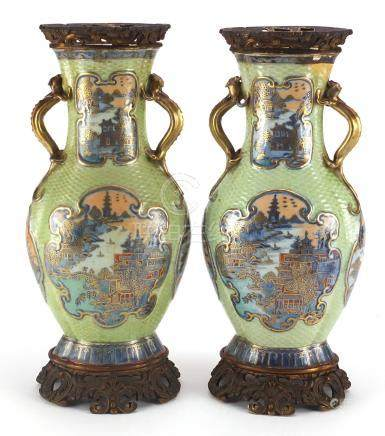 Pair of Chinese porcelain green ground vases with gilt metal mounts and twin handles, each hand