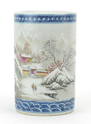 Chinese porcelain cylindrical brush pot, hand painted with figures in a winter landscape and