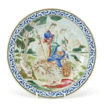 Chinese porcelain plate, finely hand painted in the famille rose palette with European figures in