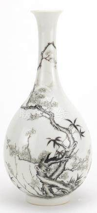 Chinese porcelain grisaille bottle vase, hand painted with butterflies amongst blossoming trees at