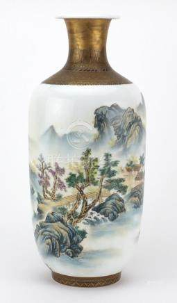 Chinese porcelain vase hand painted in the famille rose palette with a river landscape and