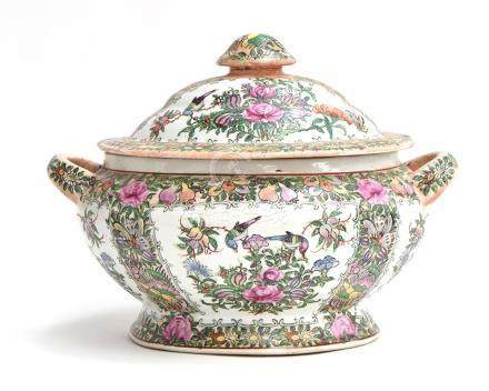 A Chinese Qing dynasty famille verte twin handled tureen and cover, six red character marks to base,