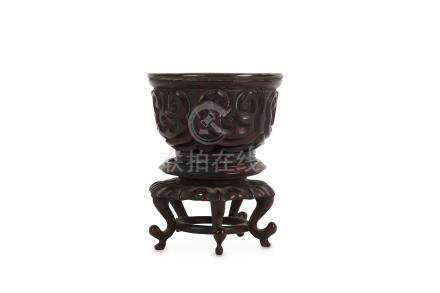 A CHINESE TIXI LACQUER CUP.