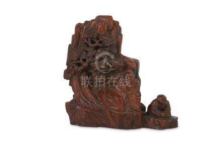 A CHINESE CHENGXIANGMU 'MOUNTAIN SCENE' CARVING.