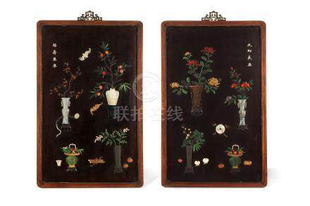 A PAIR OF CHINESE HARDSTONE AND RHINOCEROS HORN-INLAID WOOD 'TREASURES' PANELS.