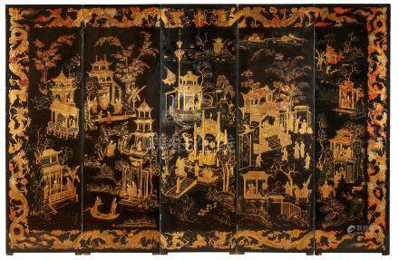 A CHINESE FIVE PANEL GILT-DECORATED BLACK LACQUERED FOLDING SCREEN.