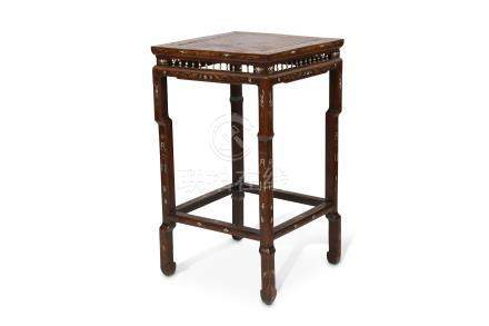 A CHINESE IVORY AND BOXWOOD-INLAID HONGMU NINGBO TABLE.
