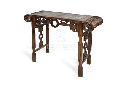 A CHINESE HARDWOOD CARVED MARBLE-INLAID ALTAR TABLE WITH HARD STONE PANELS INLAID.