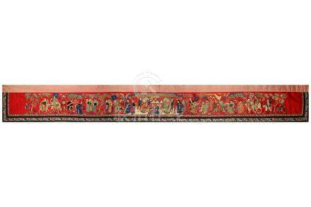 A CHINESE EMBROIDERED RED-GROUND 'PROCESSION' PANEL.