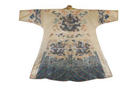 A MADE-UP CHINESE YELLOW-GROUND BROCADE 'DRAGON' ROBE.