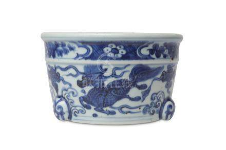 A CHINESE BLUE AND WHITE INCENSE BURNER.